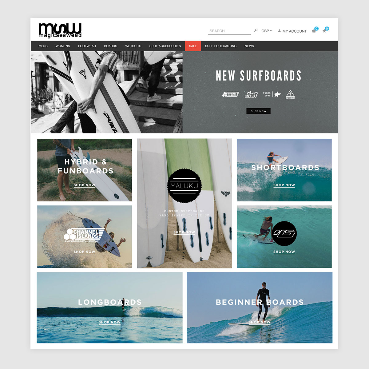 Surfboards Landing Page